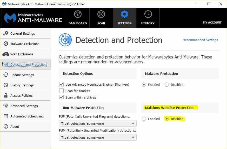 disable malicious website protection malwarebytes