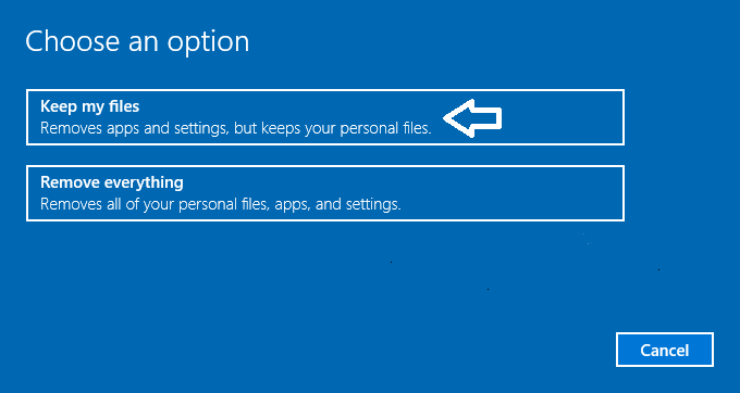 choose an option reset this pc