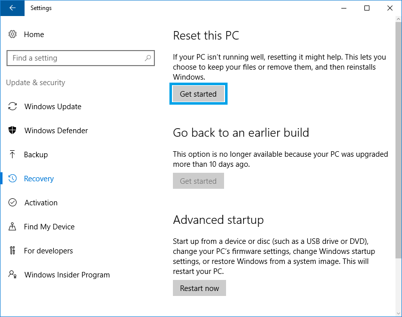 get started reset this pc