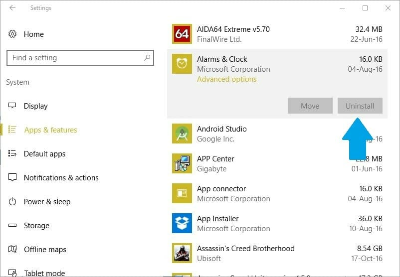 settings-app-remove-alarm-clock